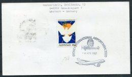 1986 UAE Australia Lufthansa First Flight Card. Abu Dhabi - Sydney. Chess - Abu Dhabi