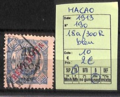 [825004]Macao 1913 - N° 190, 18a/130R Bleu - Macao