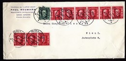 A5854) Czechoslovakia Brief Brno 28.09.27 N. Wien Mit 10 Marken - Briefe U. Dokumente