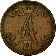 Monnaie, Finlande, Alexander II, 5 Pennia, 1867, TTB, Cuivre, KM:4.1 - Finlande