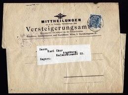 A5855) Österreich Austria Drucksache-Streifband Wrapper Wien 1904 N. Augsburg / Germany - 1850-1918 Imperium