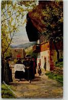 52467465 - Taufe Bommelhut Tracht Schwarzwaldhaus - Illustrateurs & Photographes