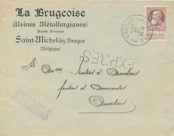 536/28 - Lettre EXPRES TP Grosse Barbe 35 C PERFORE L.B - Entete La Brugeoise ST MICHEL Lez BRUGES 1912 à AUVELAIS - 1905 Grosse Barbe