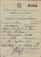 Tessera - Comando Superiore FF. AA. Dell'Impero - Comando Del Genio - Documenti Storici