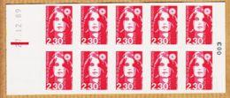 Tb013 Carnet Non Plié 2630 C1 Daté 27-12-89 N°003 Marianne BRIAT 10x2.30 Fr Adhésif N.D Tarif Janvier 1990 - Carnets