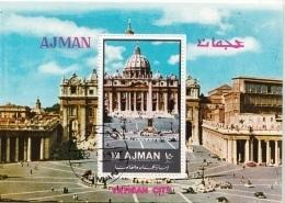 Ajman 1972 Mi. Vatican City  Città Vaticano Piazza San Pietro Sistina Sheet CTO Perf. - Ajman