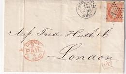 FRANCE 1867 LETTRE DE PARIS POUR LONDRES - 1849-1876: Periodo Clásico