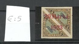 Estland Estonia 1923 Michel 44 B A * + Abart ERROR E: 5 On Basic Stamp Signed K. Kokk - Estland
