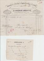 Guerre 1870 -  Facture Quincaillerie - P.snoeck Debruyn - Bxl - Par Ambulance A -  Waux-hall - Bon Pour  - 1870 - Documents Historiques
