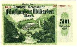 Notgeld Deutsche Reichsbahn 500  Milliarden Mark  Karlsruhe - [ 3] 1918-1933 : République De Weimar