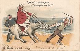 """Percy V. Bradshaw, Rading Illustrated. A Doubtful Starter!"" Tuck Humorous Series PC # 1178 - Tuck, Raphael"