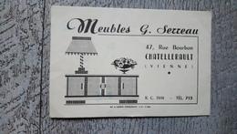 Carte Publicitaire Meubles Serreau 47 Rue Bourbon Chatellerault - Cartes De Visite