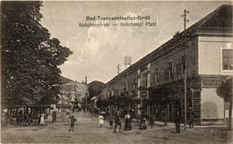Slovakia, Hungary, Trencianske Teplice, Trencsénteplic, Villa Margit, Széchenyi Square, Old Postcard - Slovaquie