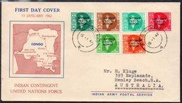 INDIA, 1962 FDC O/PRINTED FOR U.N. FORCE CONGO - India