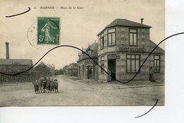 CPA. D62 . Harnes . Place De La Gare . Buffet De La Gare. E.L.D. - Harnes