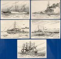 """20 CP """" LA MARINE FRANCAISE"""" Dessins HAFFNER:Croiseur,Yaght,Aviso,Voilier,Paquebot,Goëlette,Cannonière,Contre-Torpilleur - Cartes Postales"""
