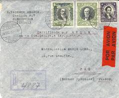 1932- Enveloppe RECC. Par Avion De Concepcion ( Chili ) Pour Pau -  Cie Générale Aéropostale - Storia Postale