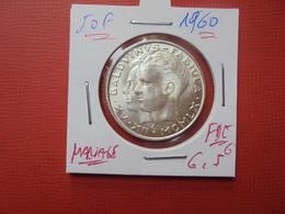 """Baudouin 1er. 50 Francs """"MARIAGE"""" 1960. ARGENT. FDC !!! - 1951-1993: Baudouin I"""