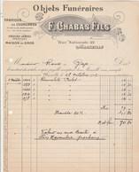 Facture Illustrée 28/10/1916 F CHABAS Objets Funéraires Couronnes Perles Immortelles MARSEILLE - Roux Gap - 1900 – 1949
