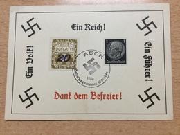 FL2875 Deutsches Reich 1938 Propagandakarte Mit Stempel Von Asch - Allemagne