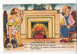 CPA Humour - Charmante Soirée : Achat Immédiat - Humour