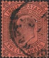 INDIA 1902 King Edward VII - 12a - Purple On Red FU - Inde (...-1947)