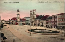 Slovakia, Hungary, Bansk Bystrica, Besztercebánya, King Béla The IV. Square With Fountain, Old Postcard - Slovakia