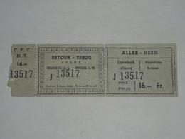 Ancien Ticket Tramway, Bruxelles Belgique.Ticket Autobus,Train, Metro. Tarif Réduit. - Tramways