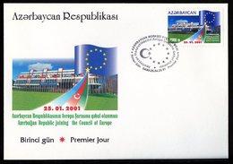Azerbaïdjan - Aserbaidschan - Azerbaijan 2001 Y&T N°419 - Michel N°496 FDC - 1000m Conseil De L'Europe - Aserbaidschan