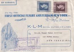 PAYS- BAS 1946 LETTRE DE GRAVENHAGE  1er VOL NEW-YORK - 1891-1948 (Wilhelmine)
