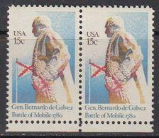 USA 1980 General Bernardo De Galvez / Battle Of Mobile 1v (pair) ** Mnh (41837G) - Verenigde Staten