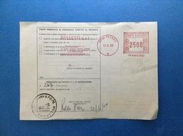 1989 AFFRANCATURA MECCANICA ROSSA EMA RED SU BOLLETTINO PACCHI ROSSETTI SRL CHIUSA DI GINESTRETO PESARO - Affrancature Meccaniche Rosse (EMA)