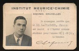 STUDENT BIJ INSTITUT MEURICE - CHIMIE  1951 1952 - Documents Historiques