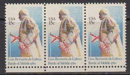 USA 1980 General Bernardo De Galvez / Battle Of Mobile 1v (strip Of 3) ** Mnh (41837H) - Verenigde Staten