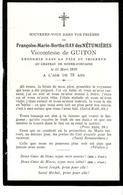 Faire-part Françoise HAY Des NETUMIERES - Vicomtesse De GUITON - Château De Bonne-Fontaine 31/3/10 - Obituary Notices