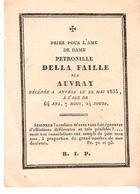 Faire-part Décès Dame Pétronelle DELLA FAILLE Née AUVRAY - ANVERS 22/5/1835 - Obituary Notices
