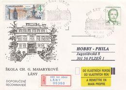 I0239 - Tschechoslowakei (1992) Ganzsachen / Präsident V. Havel: Lany - Schule Von Ch. G. Masaryk (600 Jahre Dorf) - Schlösser U. Burgen