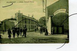 CPA COLORISÉE . D92 . BILLANCOURT . L'Usine RENAULT Frères.  SORTIE DE L'USINE . - Boulogne Billancourt