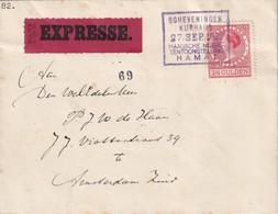 PAYS-BAS 1929 LETTRE EXPRESSE DE SCHEVENINGEN POUR AMSTERDAM - 1891-1948 (Wilhelmine)