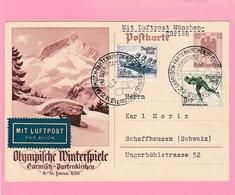 Th.14 Jeux Olympique Garmisch-Partenkirchen 1936 Entier Postal + Oblitération 12.2.36  Timbres= Patinage / Bob - Winter 1936: Garmisch-Partenkirchen
