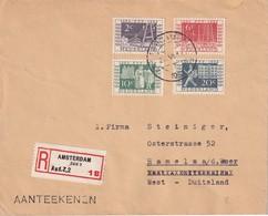 PAYS-BAS 1952 LETTRE  RECOMMANDEE DE AMSTERDAM AVEC CACHET ARRIVEE HAMELN - 1949-1980 (Juliana)