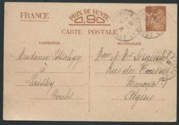 Entier Yvert  Cp1 Envoi De Laissey,  Oblitéré Cad Besançon - Doubs  En 1941, Pour L'algérie   LX3009 - Marcophilie (Lettres)