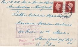 PAYS-BAS 1950 LETTRE DE PERNIS POUR NEW-YORK  1er STRATOCRUISERVLUCHT - 1949-1980 (Juliana)