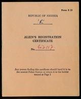 REPUBLIC OF NIGERIA - ALIEN'S REGISTRATION CERTIFICATE -   ZIE SCANS - Documents Historiques