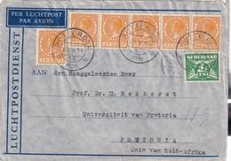 PAYS-BAS 1938 PLI AERIEN DE ROTTERDAM POUR PRETORIA - 1891-1948 (Wilhelmine)