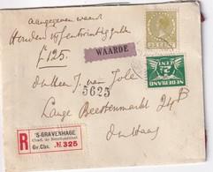 PAYS-BAS 1928 LETTRE RECOMMANDEE DE GRAVENHAGE - 1891-1948 (Wilhelmine)