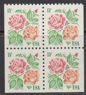 USA 1978 Roses 1v  Bl Of 4 (from Booklet) ** Mnh (41838G) - Verenigde Staten