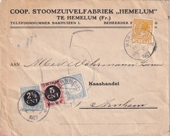 PAYS-BAS 1927 LETTRE TAXEE DE WARNS POUR ARNHEM - 1891-1948 (Wilhelmine)