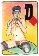 4 Cartes Dame Pique Coeur Trèfle Carreau Illustrateur Porcherot - Cartes à Jouer