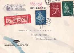 PAYS-BAS 1944 CARTE EXPRES CENSUREE DE DEVENTER POUR SIEGBURG - 1891-1948 (Wilhelmine)